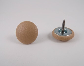 6 buttons 20mm sand leather covered nail