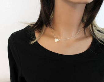 Gold Heart Necklace, Heart Choker, Initial Heart, Dainty Heart Necklace, Personalized Mothers Necklace Heart Charm Minimalist Gold or Silver