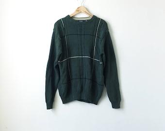 90s Oversized Knit Sweater - Green - Grandpa Sweater - Cosby Sweater - Striped Sweater - Textured Sweater - Cable Knit Sweater - Men's XL