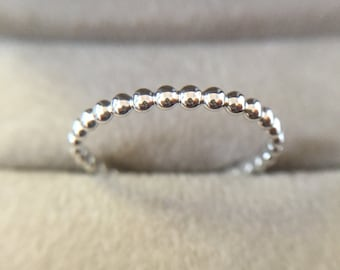 2mm Sterling Stackable Bead Ring Size 7.5