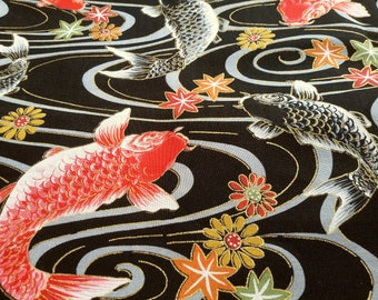 KOI ( Carp ), Black, Red. Japanese maple. Japanese fabric. Japanese cotton  fabric. Fabric by half yard or half meter
