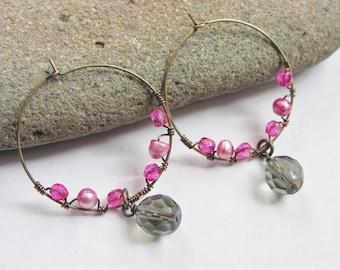 Bright Pink and Smoky Gray Beaded Pearl Hoop Earrings, Colorful Hoops, Wire Wrapped Hoop Earrings