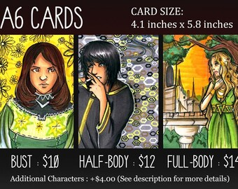 Original Custom Postcard A6 Character Card Sketches