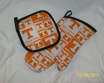 TN Tennessee Vols  Oven MItt and Hot Pad Pot Holder Set Great Gift!