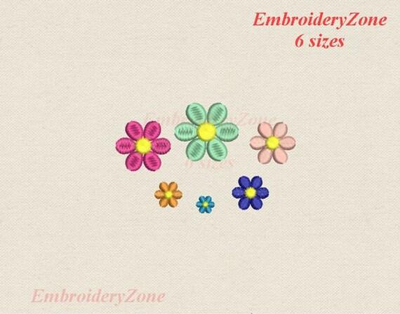 Machine Embroidery Design Mini Flower Miniature Six Petal Flowers