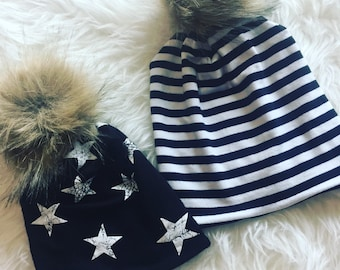Pom pom beanie in your choice of fabrics available in sizes newborn to adult