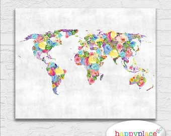 Feminine poster etsy floral feminine abstract printable world map art watercolor flower colorful bright and happy wall gumiabroncs Images