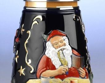 Ornate Relief Beer Jug-Christmas 1, 5l-Path Cap-German beer stein