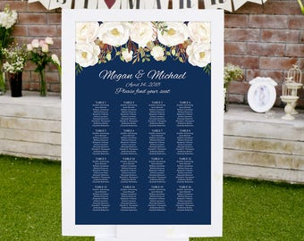 Wedding Seating Chart Template, Boho Chic Floral Wedding Table Plan, Navy Seating Board, Seating Plan, #A051, INSTANT DOWNLOAD, Editable PDF