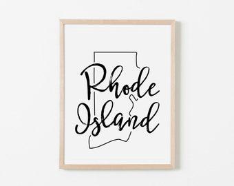 Rhode Island Art. Rhode Island Print. Rhode Island Wall Art. Nursery Wall Art. Nursery Prints. State Wall Art. Rhode Island Nursery.