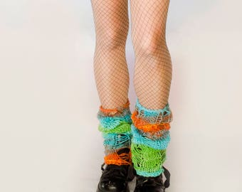 Womens Leg Warmers  _  Tropical Colors Knitted Leg Warmers _ Colorful Boot Cuffs _ Cozy Gift Ideas