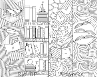 8 Printable Coloring Bookmarks 4 with texts and 4 without texts; Coloring bookmarks on Books and Reading; Digital Downloads