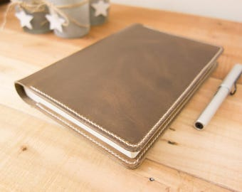 Leather Taroko Enigma or Mystique Cover, A5 Notebook Cover, Bullet Journals, Fountain Pen Tomoe River Paper, Horween, Natural, Cream