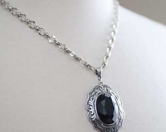 Beautiful Jet Black Glass Necklace, Silver Necklace, Black Necklace, Antiqued Silver Jewelry, Victorian Necklace, NeoVictorian Jewelry,SRAJD