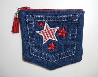 DENIM Jeans POCKET / Red and White STARS Denim Tiny Purse / Coin Zipper Pouch / Denim Pouch / Small Double Pocket Purse /Child Jeans Pocket