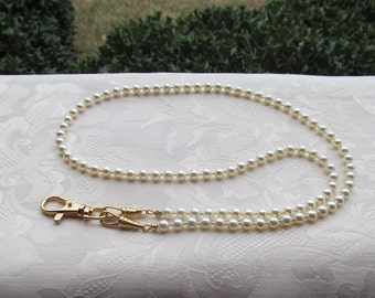 Cream Beaded Lanyard Swarovski Pearl Cream Lanyard Necklace ID Badge Holder