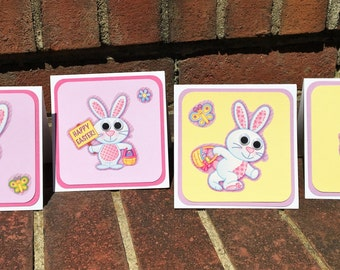 Set of 4~4 x 4 Easter Bunny Chick Note Cards