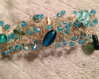 Serene Aqua Czech Bead Wire Crochet Bracelet