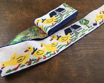 Vintage woven trim Woven Fabric Trim Yellow ducks woven trim Easter trim
