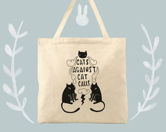 cats against cat calls earth friendly cotton canvas tote bag