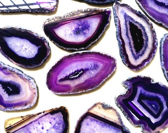 WHOLESALE Purple Agate Geode Slice Druzy - Drusy Druzzy Agate Slice with one Hole (S2V4_33)