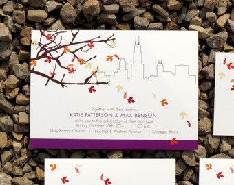 Skyline Wedding Invitation Suite - Fall Leaves - Invitation Suite - Chicago