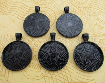 "100 - 1 Inch Round Pendant Trays - Dark Black - Vintage Antique Style Pendant Blanks Bezel Setting 25 mm 1"" Diameter"