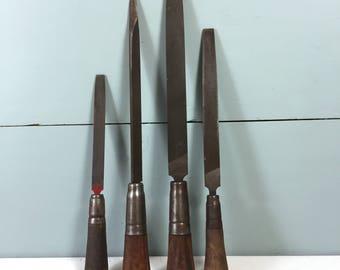 Set 4 Woodworking Tools, Vintage Tools, Vintage Files, Wood Files, Wooden Carving Woodworking Tool, Woodcarving Nicholson Bastard USA Heller