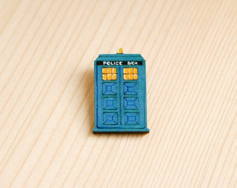Wooden brooch tardis doctor who blue badge pin fan gift idea police box Great Britain