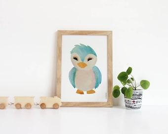 Watercolor Baby Animal Nursery Prints, Nursery, kids wall art, owl art, Poster Kids Room, Bird Illustration, Christmas gift, wall art poster