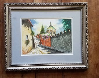 Vintage Italian watercolor Street Painting, Italian art, Italian Street art, Italian Painting, Original art