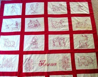 FLORENCE, Vintage Redwork Embroidery Quilt Pattern, Hand Embroidery, Redwork Patterns, Vintage Redwork Pattern