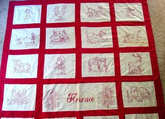 FLORENCE, Vintage Redwork Embroidery Quilt Pattern, Hand Embroidery,  Redwork Patterns, Vintage Redwork Pattern