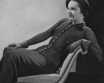 PDF of Minervas Laconia Blouse and Skirt Knitting Pattern, c. 1935