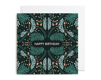 Greetings Card - Happy Birthday Woodland Floral Greetings Card