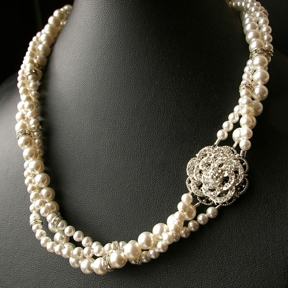 Vintage Wedding Jewelry Pearl Bridal NecklaceTwisted Pearl