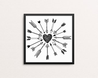 Cupid's Arrows, square 10x10, 8x8, & 5x5 Art Decor Digital Print