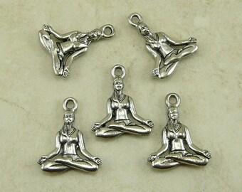 5 Yoga Lotus Position Charms > Meditation Zen Spirituality Silver - Raw American Made Lead Free Pewter - I ship internationally