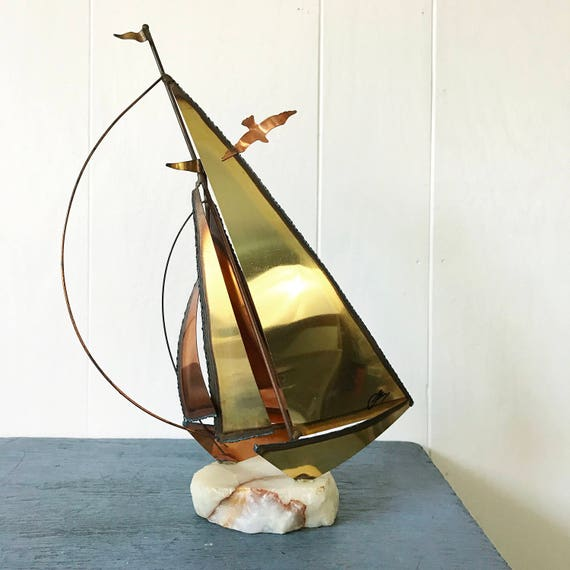 vintage sailboat sculpture - brass copper metal art - Curtis Jere style - Mid Century Modern - nautical sailing - beach house decor