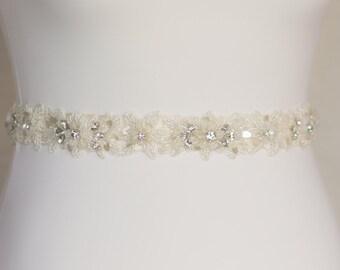 Ivory Wedding belt, Ivory Bridal sash, Ivory lace belt, Lace bridal Sash, Lace wedding sash, Sequin Belt, Lace bridal Belt, Floral belt sash