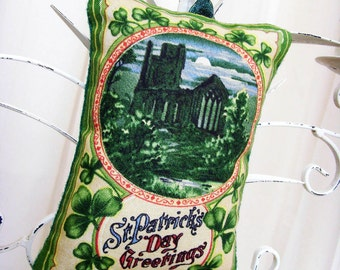 Olden Night in Ireland Greetings Ornament / St. Patrick's Day Ornament / Green Shamrocks - Old Castle - Full Moon / Unique Gift Under 20