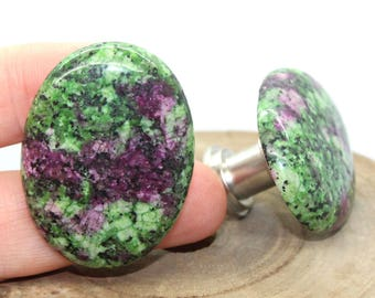 Stone Cabinet Knobs, Ruby Zoisite Cabinet Knobs, Cabinet Knobs   Set Of 2,