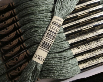 Medium Pine Green #3363, DMC Cotton Embroidery Floss - 8m Skeins - Available in Single Skeins, Larger Pkgs & Full (12 skein) Boxes