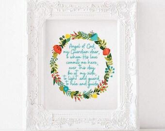 Angel of God print, Angel of God printable, Angel of God Prayer, Angel of God, Catholic printable, catholic print, catholic decor