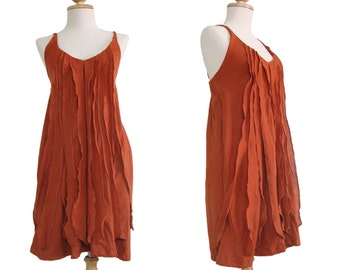 Short Burnt Orange Summer Dress / Women Petit Orange Mini Dress / Spaghetti Strap Mini Dress / Cotton V neck Dress - size s m - SD006
