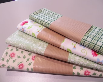 four cut 100% cotton fabric 50 x 50 cm, green tones