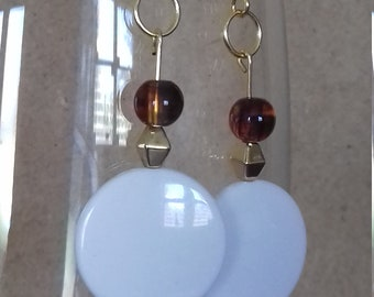 Gold and white disc dangle earrings
