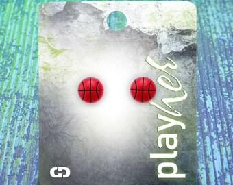 Enamel Basketball Post Earrings - Great Basketball Gift! Free Shipping!