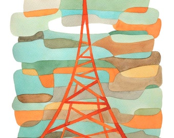 Big Mid Century Modern Art Print Orange Transmitter Poster orange blue green brown 11 x 16