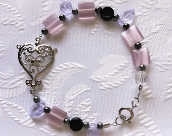 Love Heart Pink, Black & Silver Beaded Bracelet by ~EugeniaM~